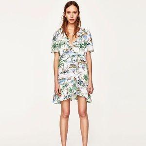 ZARA Short Tropical Print Wrap Dress